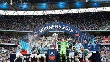 Watch Manchester City hug the FA Cup