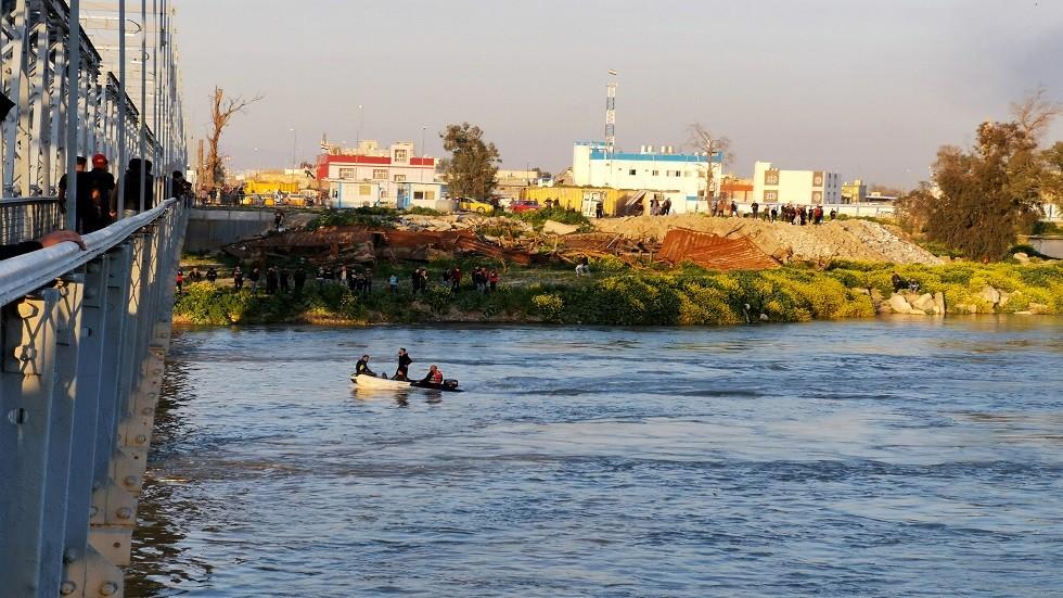 النهر الذي غرقت فيه العبارة في الموصل