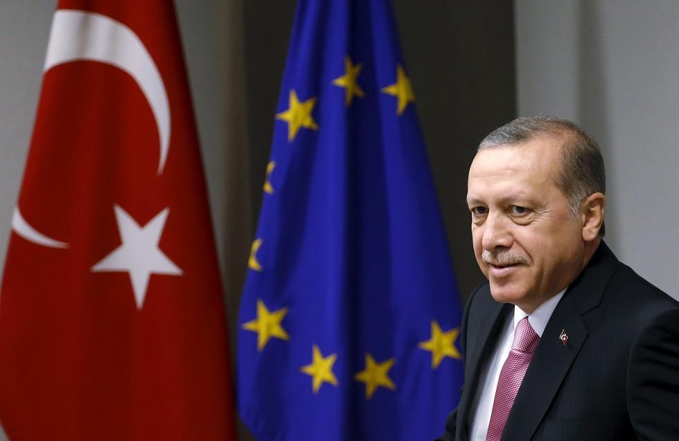 أرشيف - رجب طيب أردوغان، بروكسل، بلجيكا، 5 أكتوبر 2015