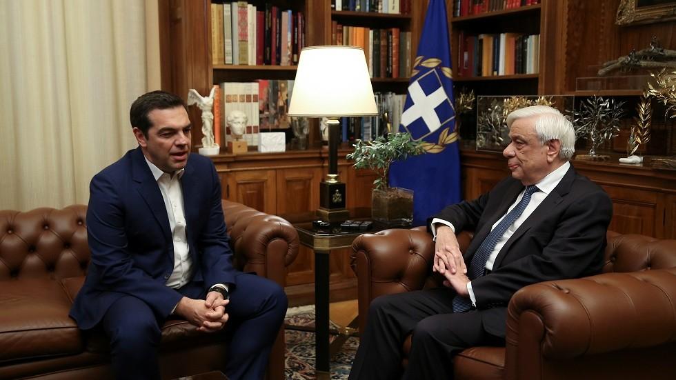 لقاء الرئيس اليوناني بروكوبيس بافلوبولوس مع رئيس الوزراء أليكسيس تسيبراس