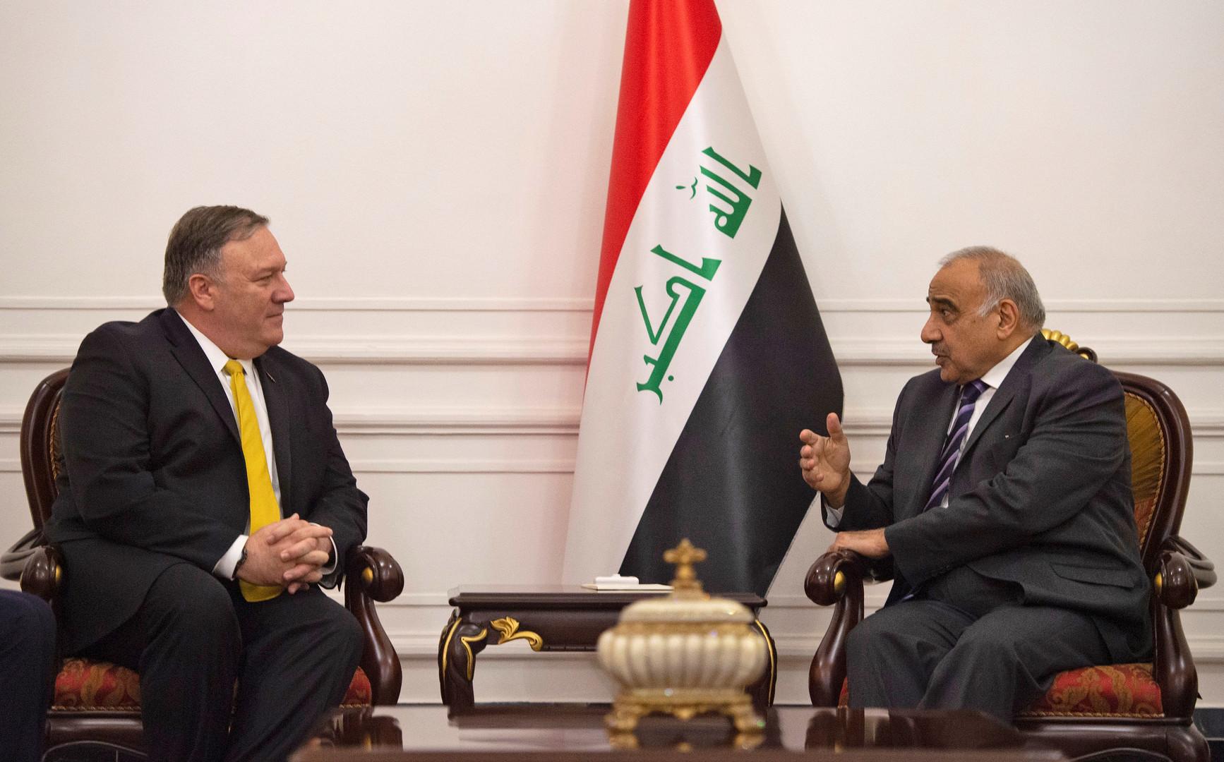 عبد المهدي يؤكد لبومبيو سعي العراق للتهدئة بين الولايات المتحدة وإيران