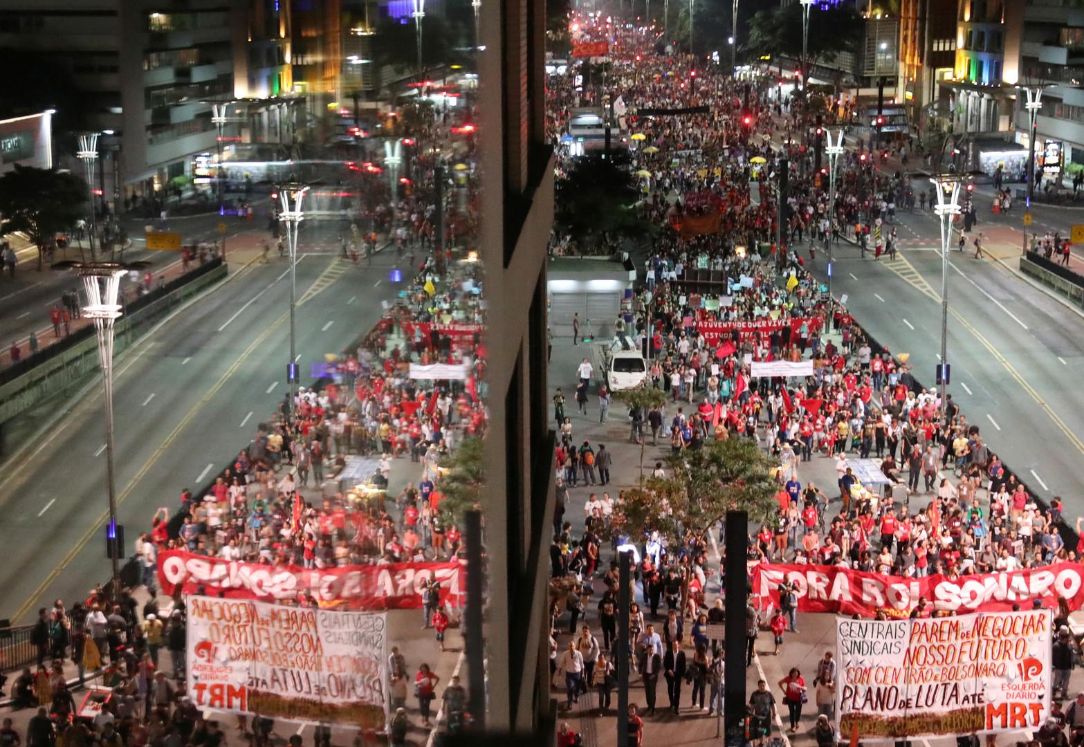 احتجاجات على إصلاح المعاشات التقاعدية في سان باولو، البرازيل، 14 يونيو 2019