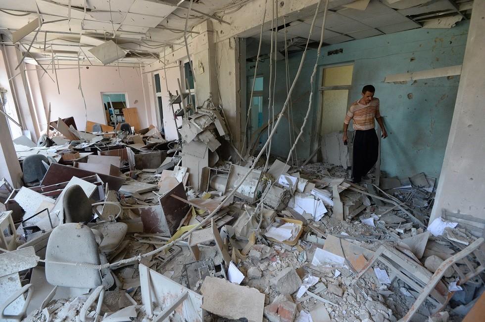 آثار قصف الجيش الأوكراني لمدينة دونيتسك - أرشيف