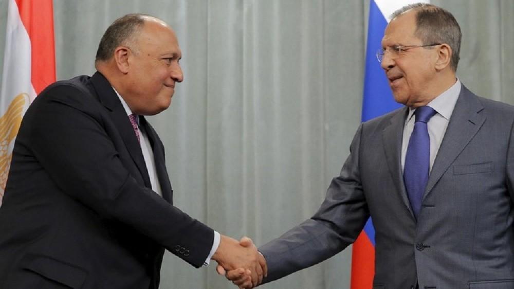 وزير الخارجية الروسي سيرغي لافروف مع نظيره المصرى سامح شكري (أرشيف)