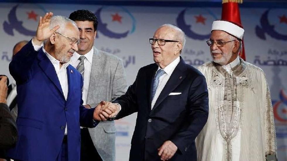 الرئيس التونسي الباجي قايد السبسي ورئيس حركة النهضة راشد الغنوشي