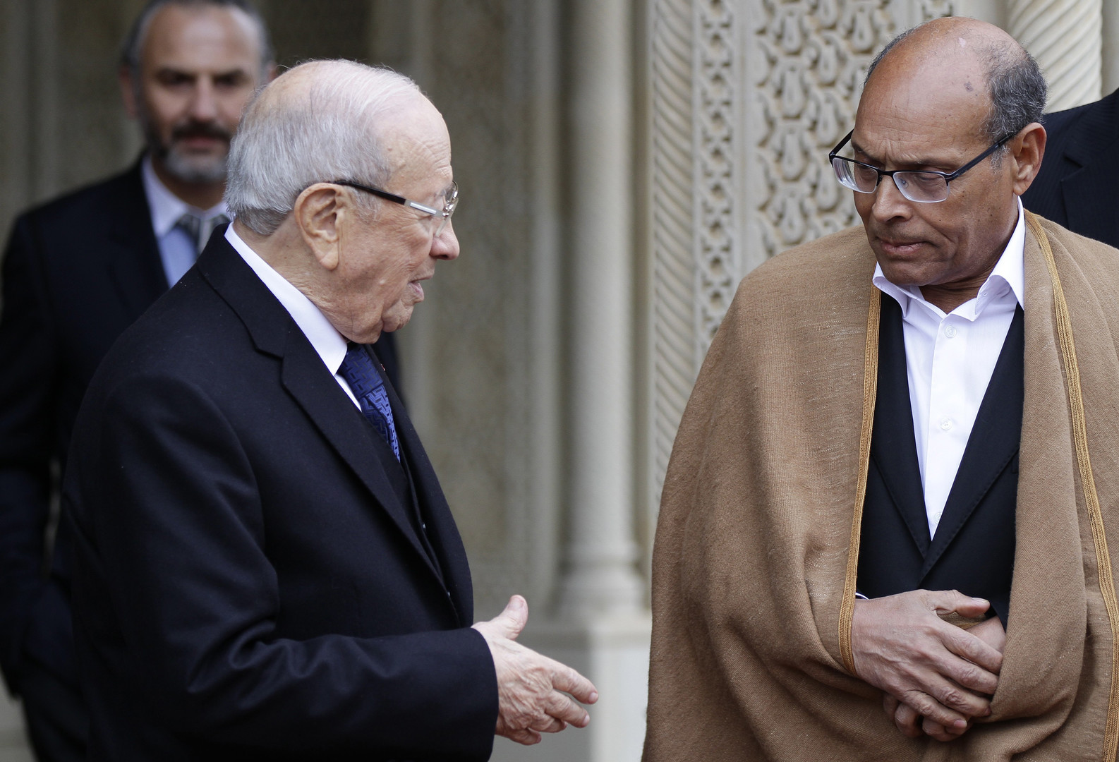 الرئيس التونسي السابق المنصف المرزوقي والرئيس الحالي الباجي قائد السبسي