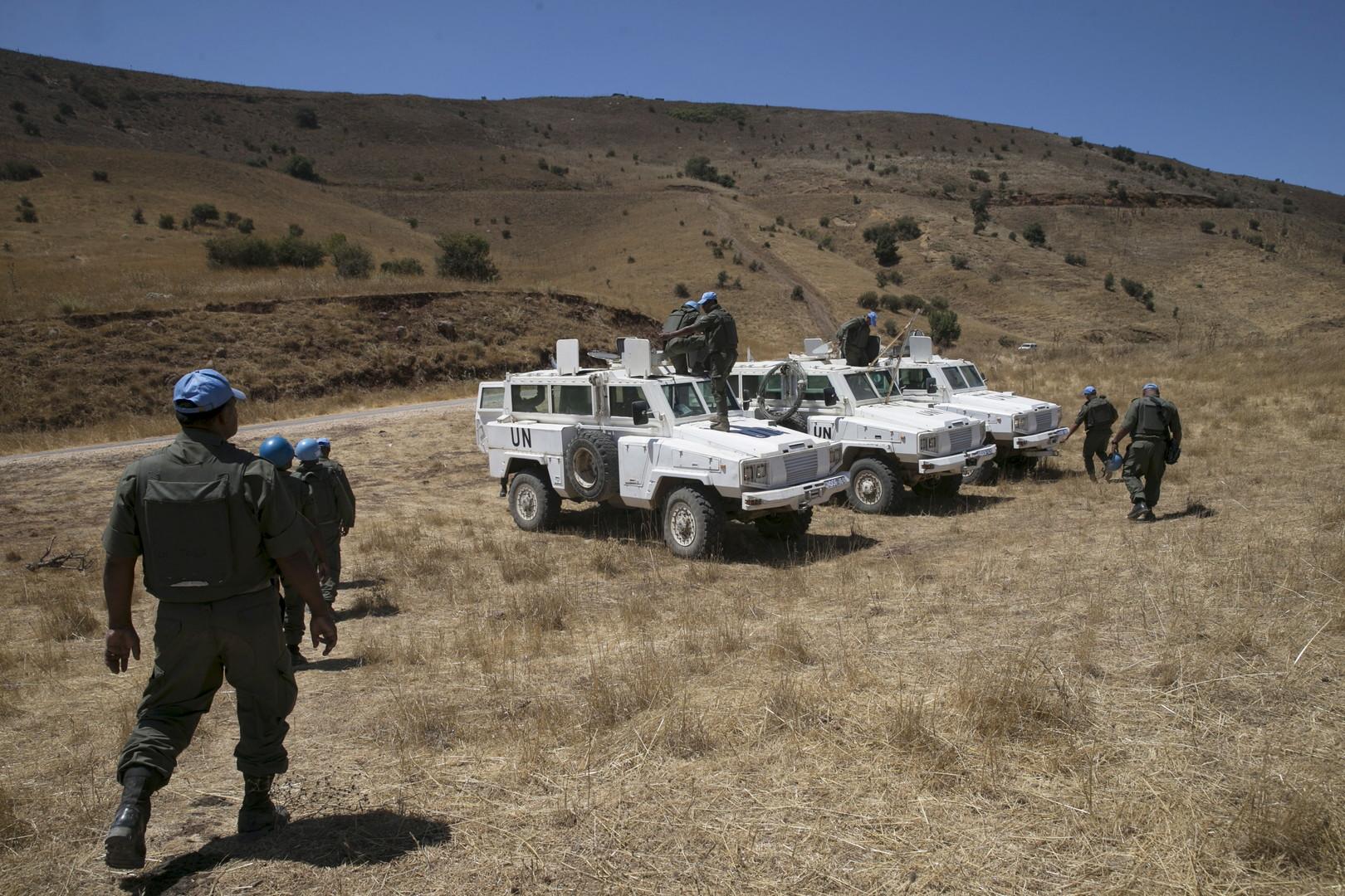 عناصر قوة الأمم امتحدة لمراقبة فض الاشتباك في مرتفعات الجولان