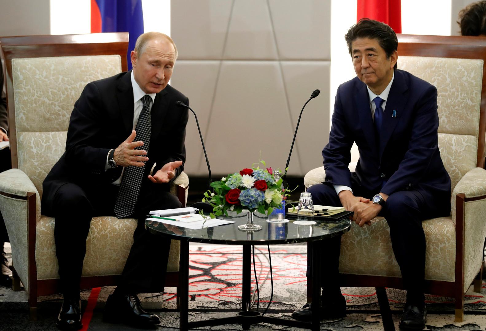 لقاء رئيس الوزراء الياباني شينزو آبي والرئيس الروسي فلاديمير بوتين في أوساكا اليابانية، 29 يونيو 2019