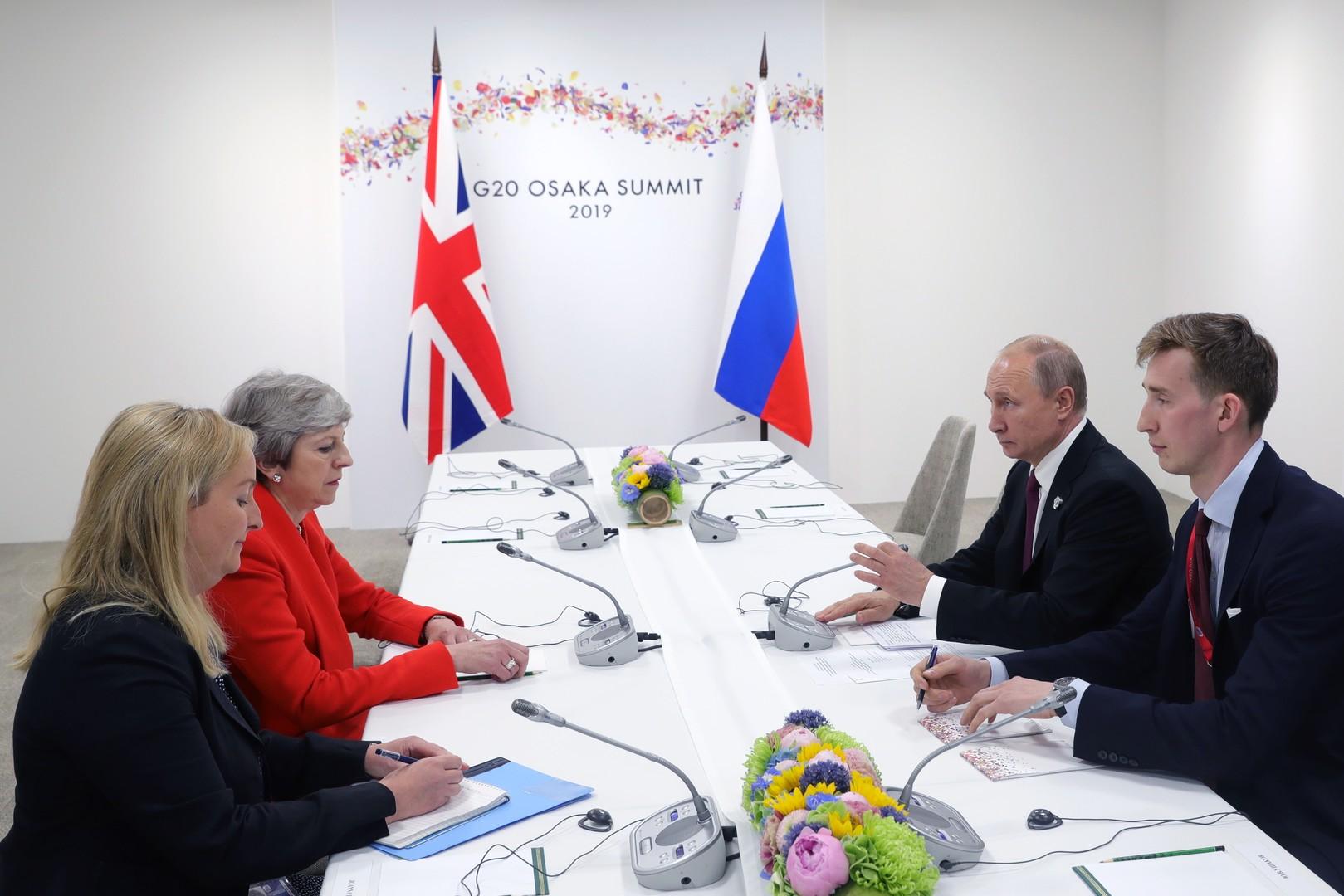 لقاء الرئيس الروسي فلاديمير بوتين ورئيسة الوزراء البريطانية تيريزا ماي في أوساكا اليابانية، 28 يونيو 2016