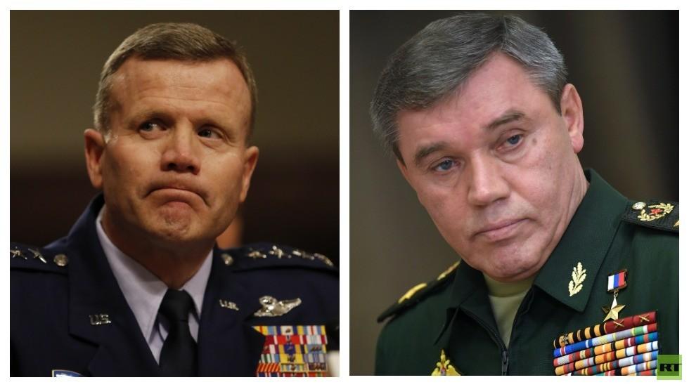 رئيس الأركان العامة للقوات المسلحة الروسية، فاليري غيراسيموف والقائد الأعلى لقوات حلف الناتو في أوروبا تود والترز