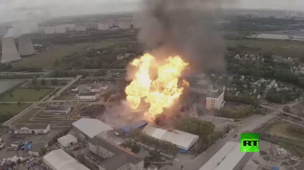 صورة جوية لحريق محطة الطاقة الحرارية بضواحي موسكو