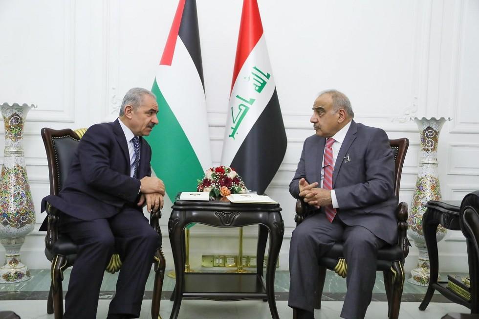 رئيس الوزراء العراقي عادل عبد المهدي والفلسطيني محمد اشتية