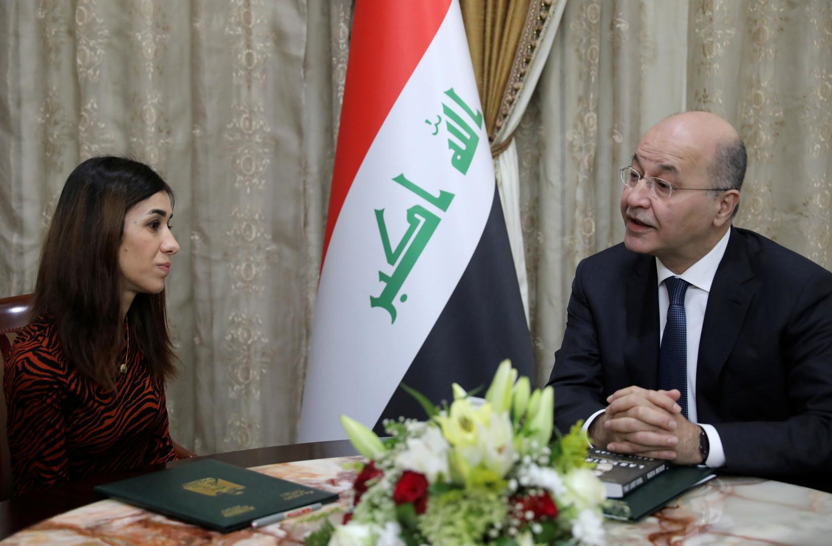نادية مراد مع رئيس العراق برهم صالح، يناير 2018