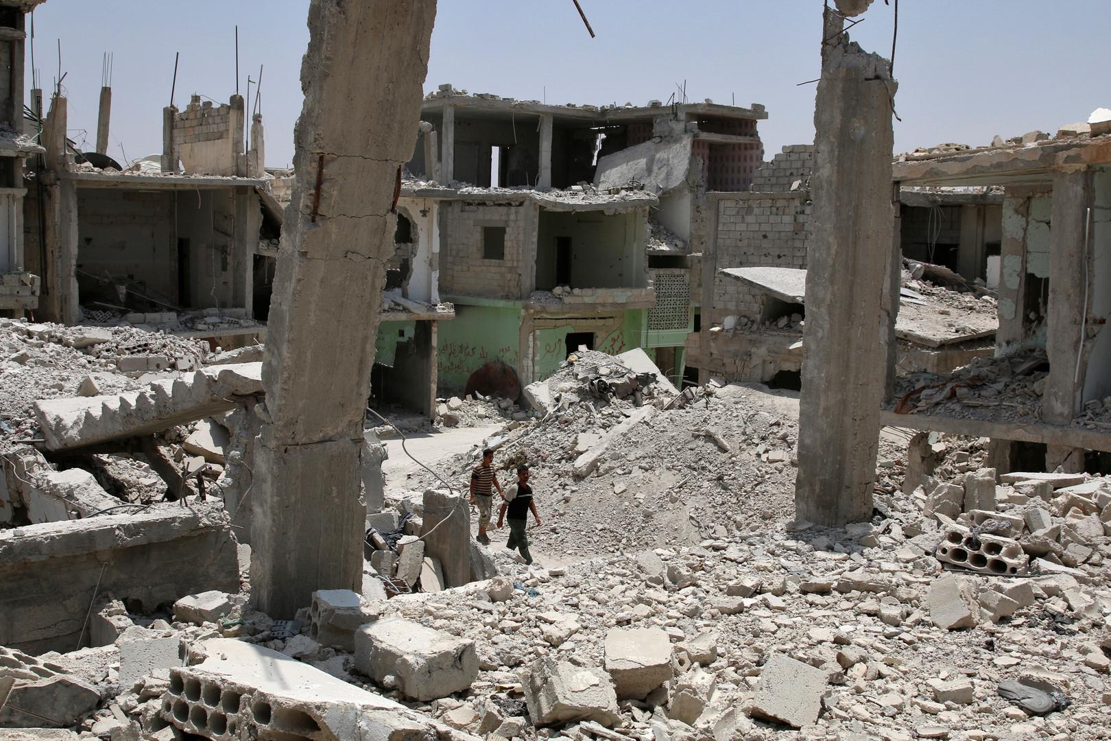 أنقاض مبان مدمرة في ريف درعا (أرشيف)