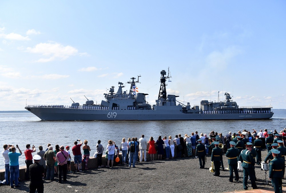 البروفة النهائية للاستعراض العسكري البحري بمدينة كرونشتادت، روسيا، 25 يوليو 2019