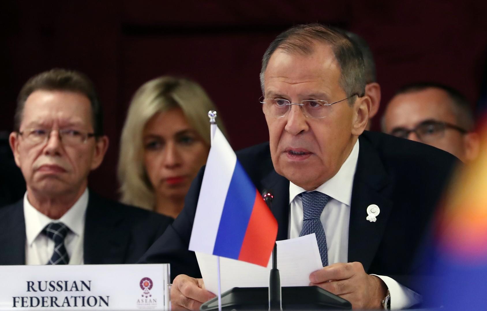 وزير الخارجية الروسي، سيرغي لافروف في جلسة وزراء خارجية دول روسيا-آسيان في بانكوك، 31 يوليو 2019