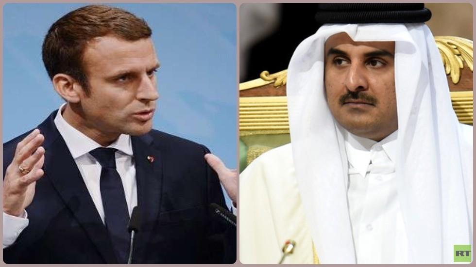أمير قطر الشيخ تميم بن حمد آل ثاني والرئيس الفرنسي إيمانويل ماكرون