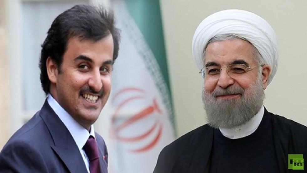 الرئیس الإيراني حسن روحاني وأمير قطر الشيخ تميم بن حمد آل ثاني