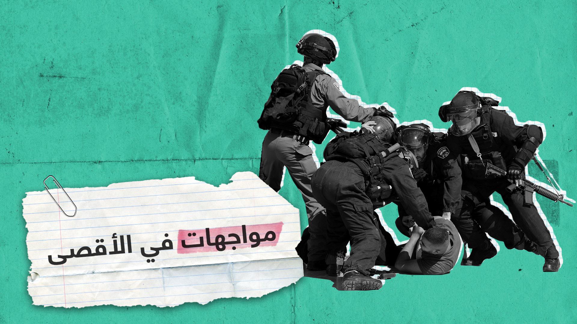 فيدو لاقتحام القوات الإٍسرائيلية باحات المسجد الأقصى  يوم العيد