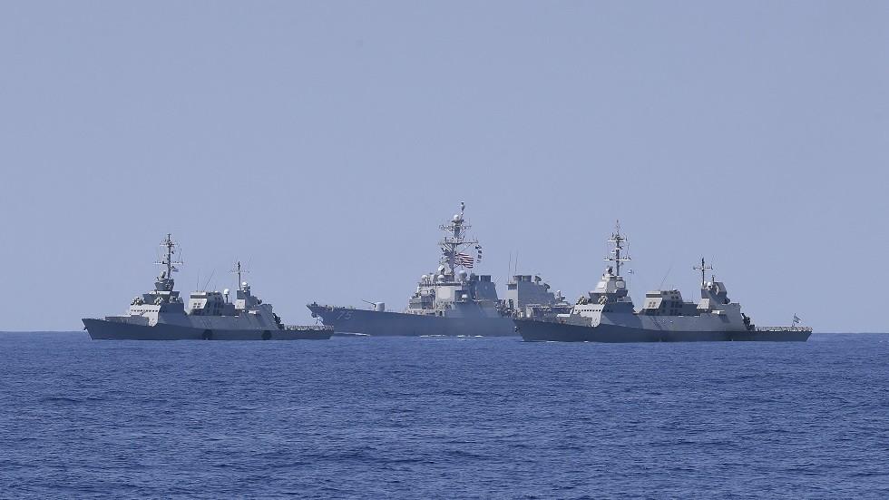 سفن إسرائيلية وأمريكية خلال المناورات قرب سواحل إسرائيل