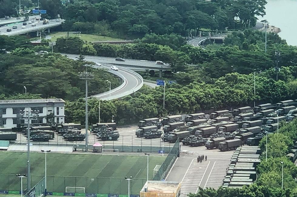 حشود عسكرية في شنتشن، المتاخمة لهونغ كونغ في مقاطعة قوانغدونغ بجنوب الصين، 15 أغسطس 2019