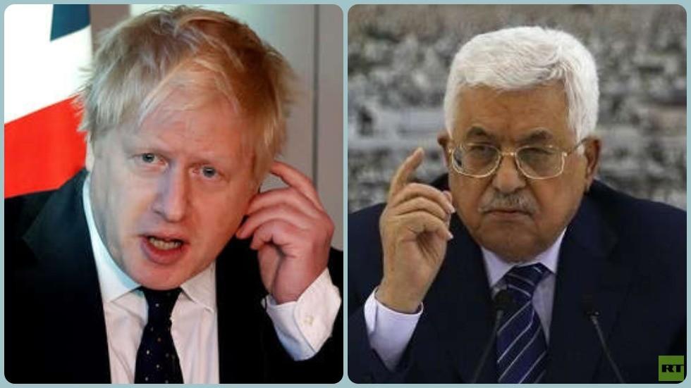 الرئيس الفلسطيني محمود عباس ورئيس الوزراء البريطاني بوريس جونسون