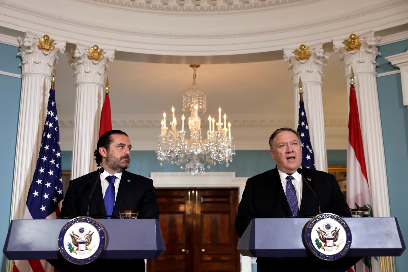 وزير الخارجية الأمريكي، مايك بومبيو، ورئيس الوزراء اللبناني، سعد الحريري (أرشيف)