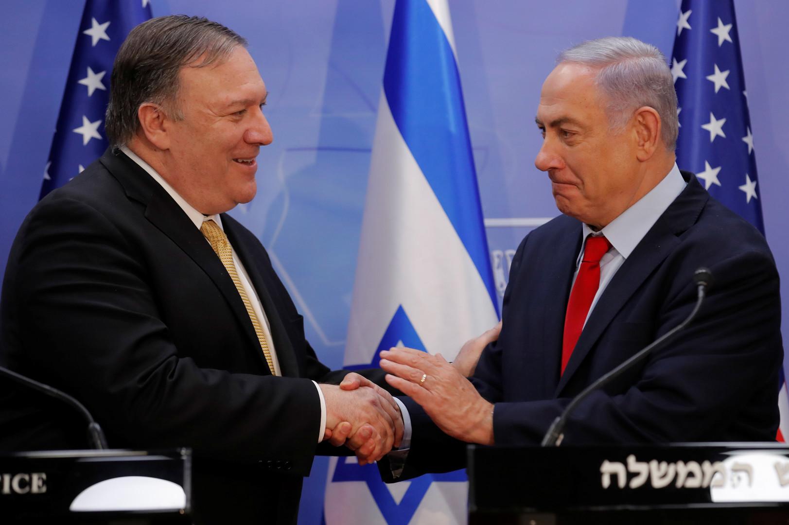 رئيس الوزراء الإسرائيلي، بنيامين نتنياهو، ووزير الخارجية الأمريكي، مايك بومبيو (صورة أرشيفية)