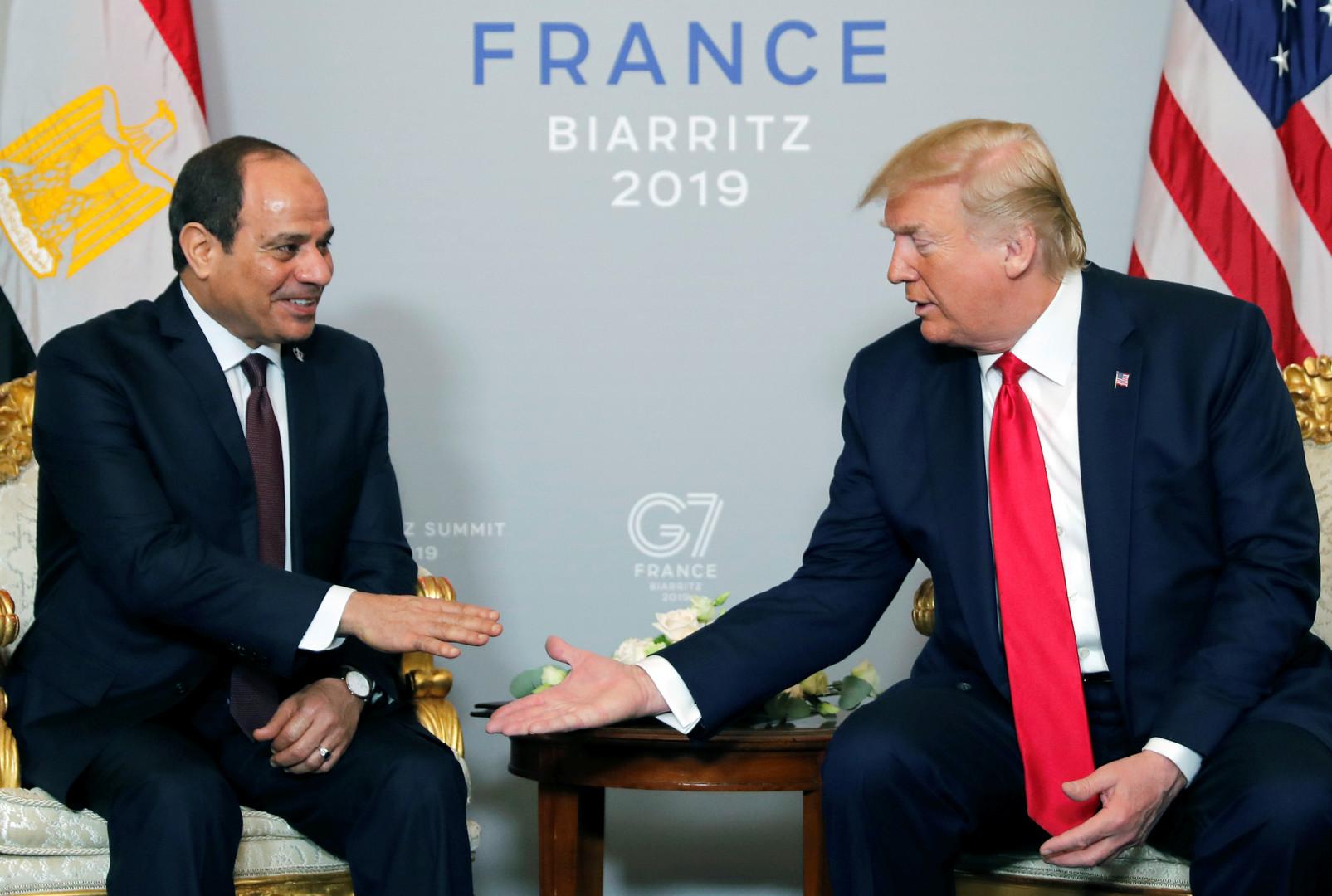 لقاء جمع ترامب والسيسي على هامش G7