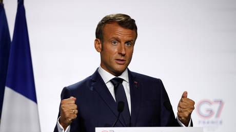 مؤتمر صحفي للرئيس الفرنسي إيمانويل ماكرون، بياريتز، فرنسا، 26 أغسطس 2019