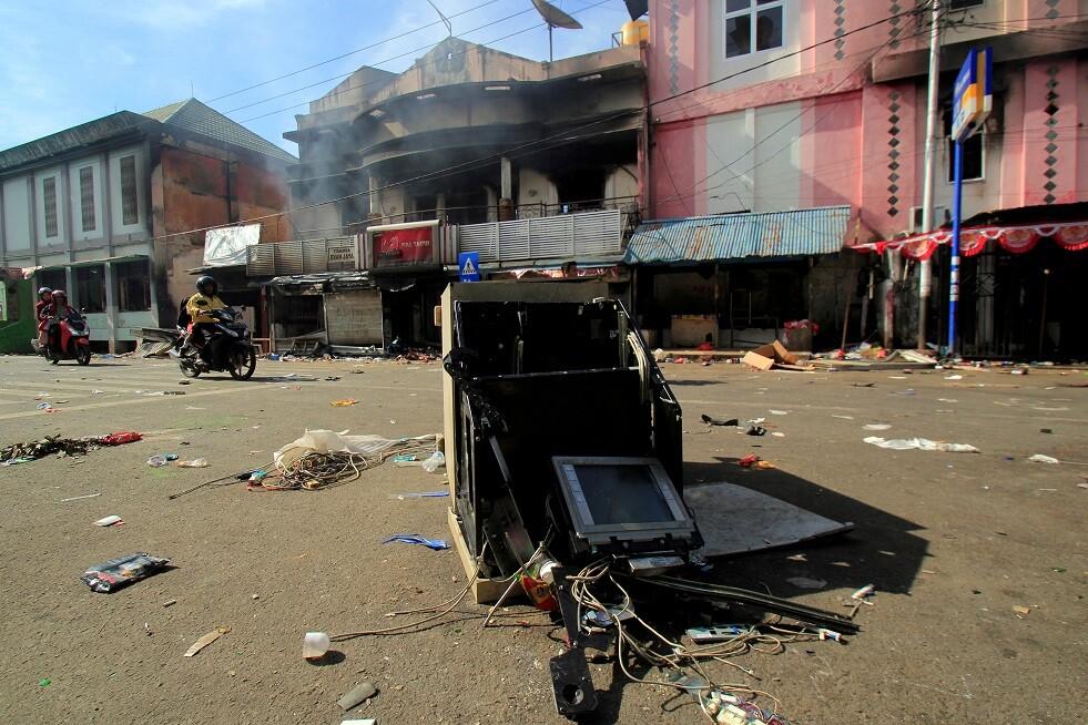 مبنى تضرر بعد أعمال شغب في جايابورا ، بابوا