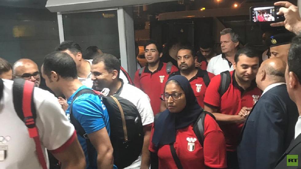 بعثة مصر تصل مطار القاهرة بعد تربعها على عرش الألعاب الإفريقية