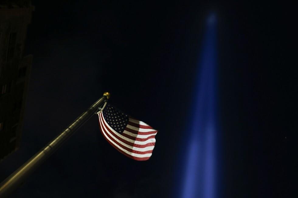 أضواء منبعثة من مكان مأساة 11 سبتمبر،  نيويورك