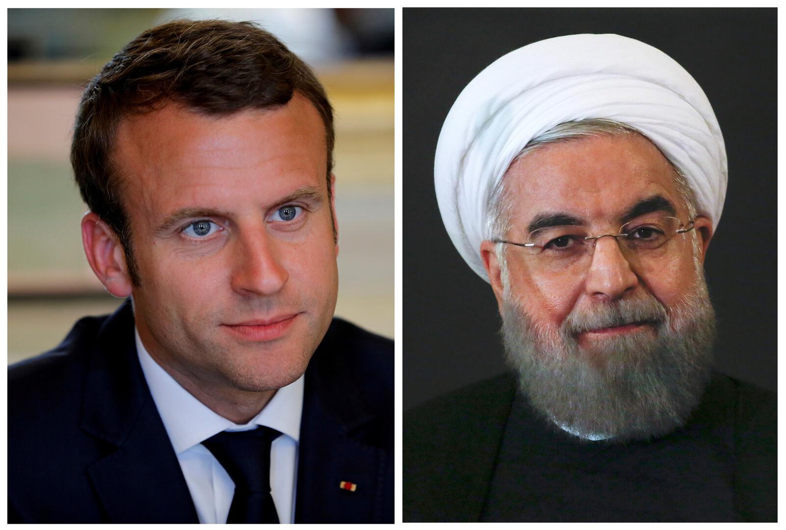 الرئيس الإيراني، حسن روحاني، ونظيره الفرنسي، إيمانويل ماكرون