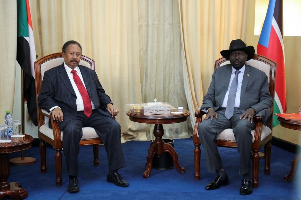 رئيس الوزراء السوداني عبد الله حمدوك، مع رئيس جنوب السودان سيلفا كير