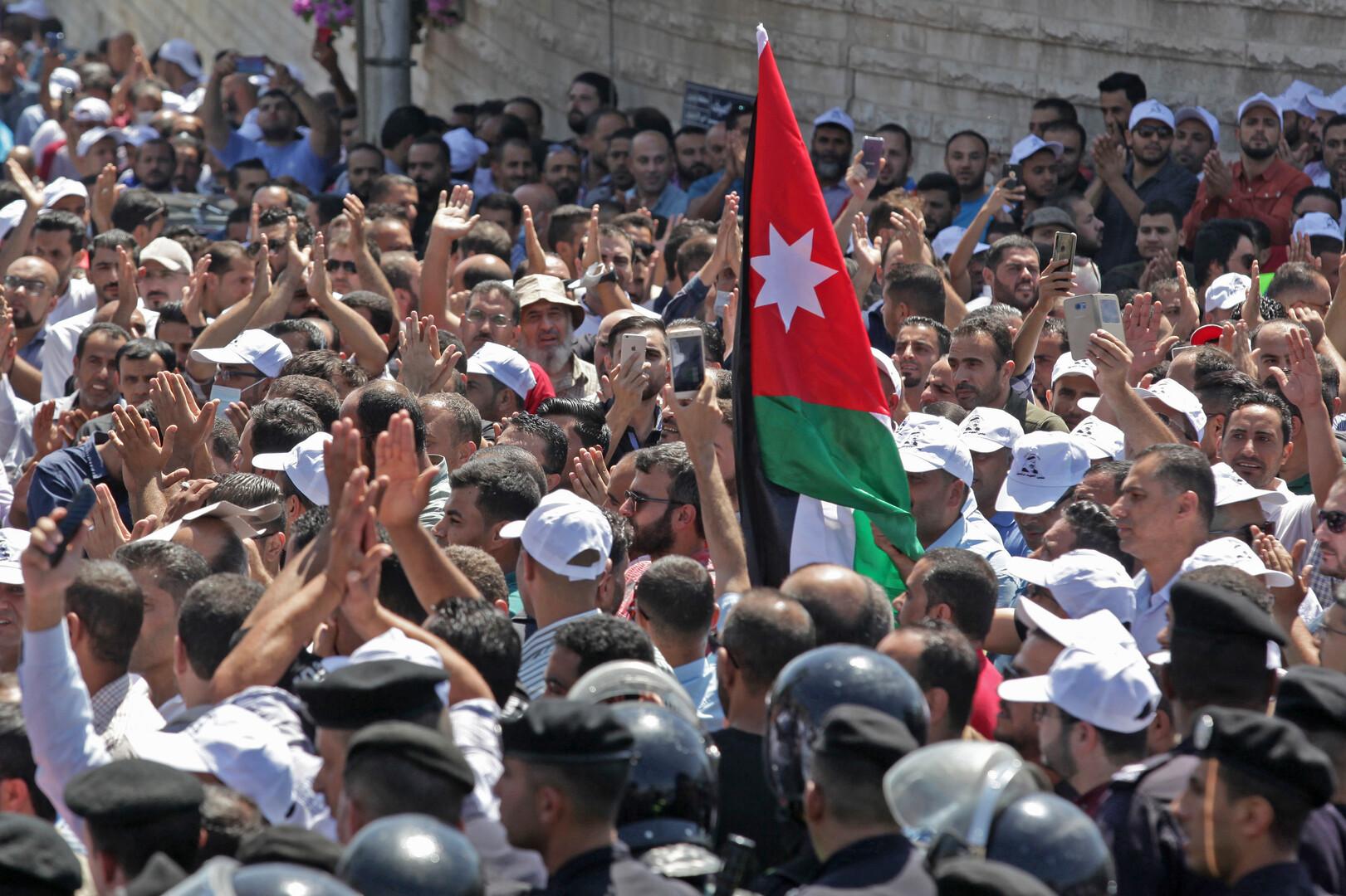 احتجاجات المعلمين الأردنيين في العاصمة عمان