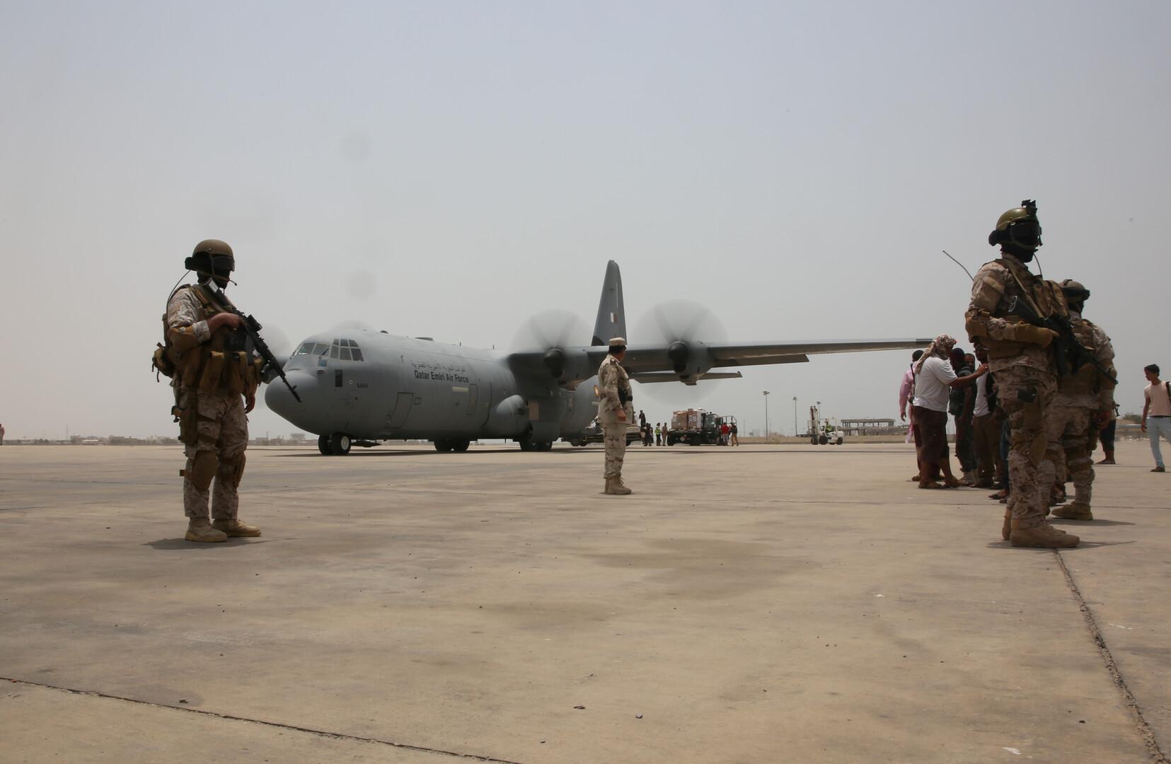 عناصر من القوات الإماراتية في مطار عدن الدولي