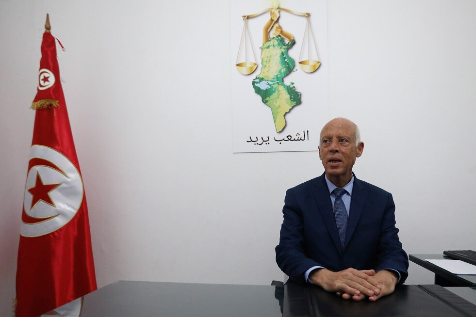 للمرشح المستقل للانتخابات الرئاسية التونسية  قيس سعيّد
