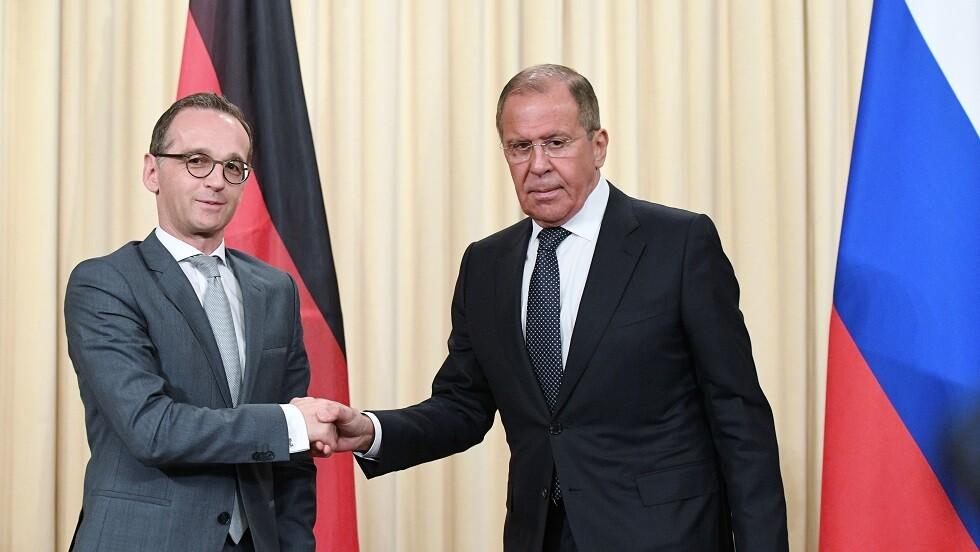 وزير الخارجية الروسي سيرغي لافروف مع نظيره الألماني هايكو ماس (صورة من الأرشيف)