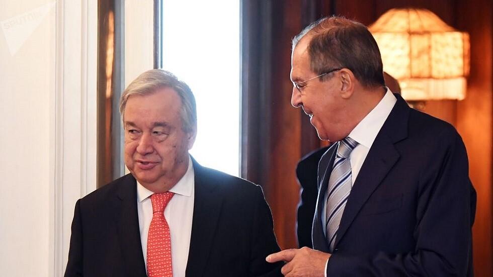 لافروف وغوتيريش يبحثان اللجنة الدستورية في سوريا والأزمات الإقليمية