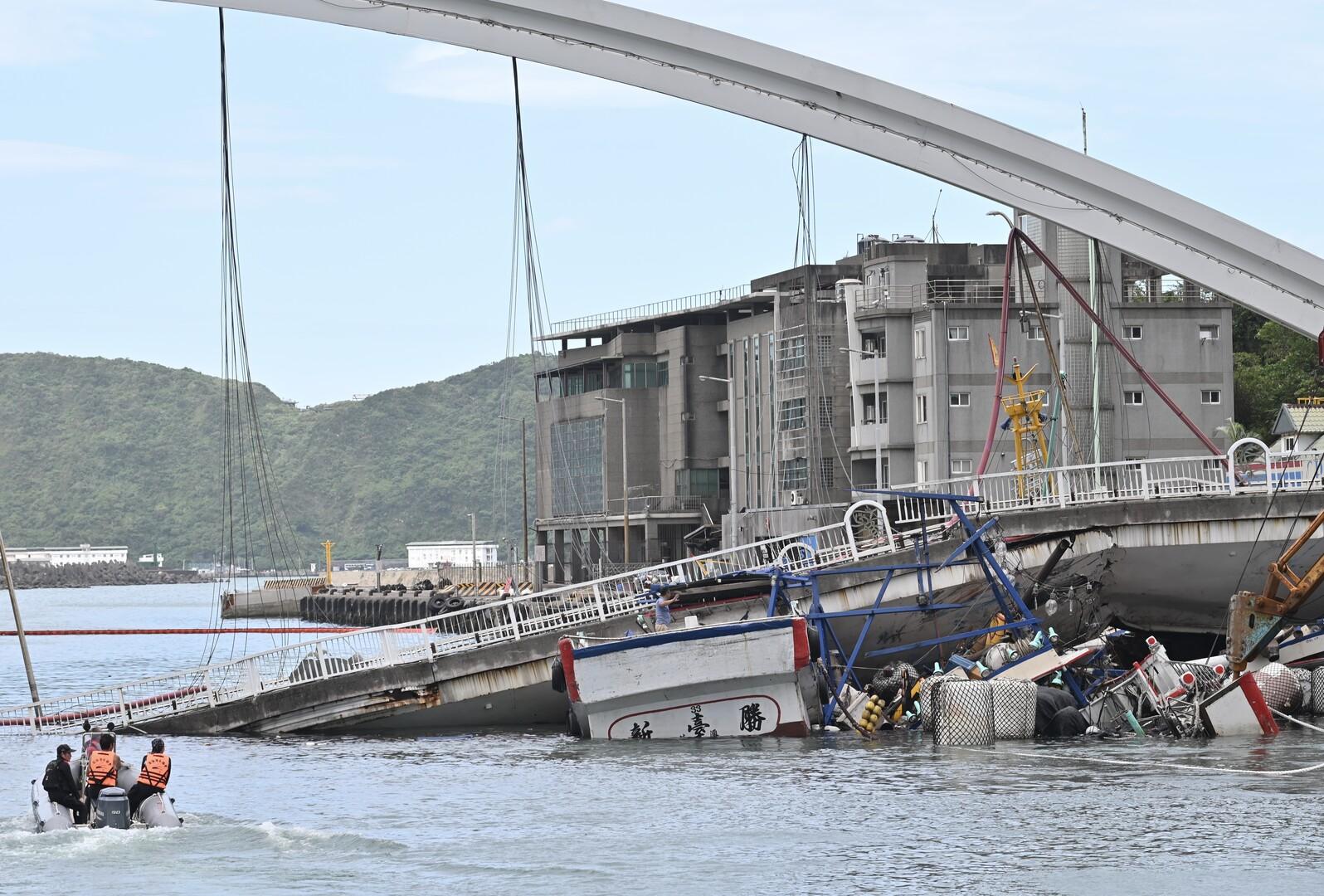 انهيار جسر في تايوان
