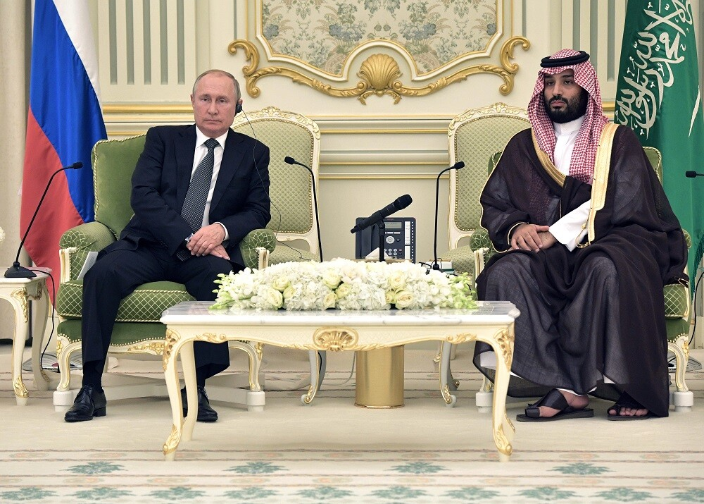 الرئيس الروسي، فلاديمير بوتين، وولي العهد السعودي، الأمير محمد بن سلمان (الرياض، 14 أكتوبر 2019)