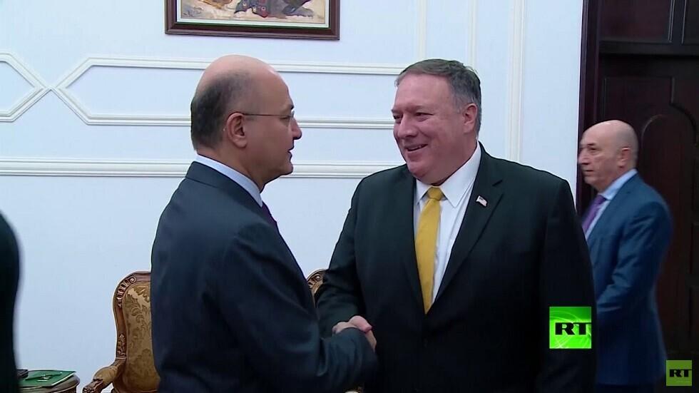 وزير الخارجية الأمريكي مايك بومبيو ورئيس العراق برهم صالح في بغداد