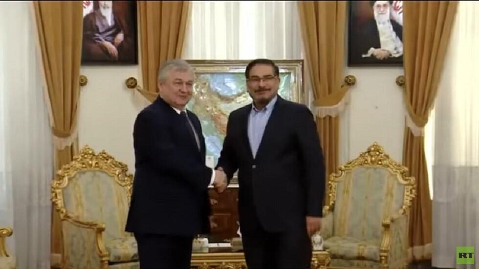 مبعوث الرئيس الروسي الخاص للتسوية في سوريا ألكسندر لافرنتييف وأمين مجلس الأمن القومي الإيراني علي شمخاني (صورة أرشيفية)