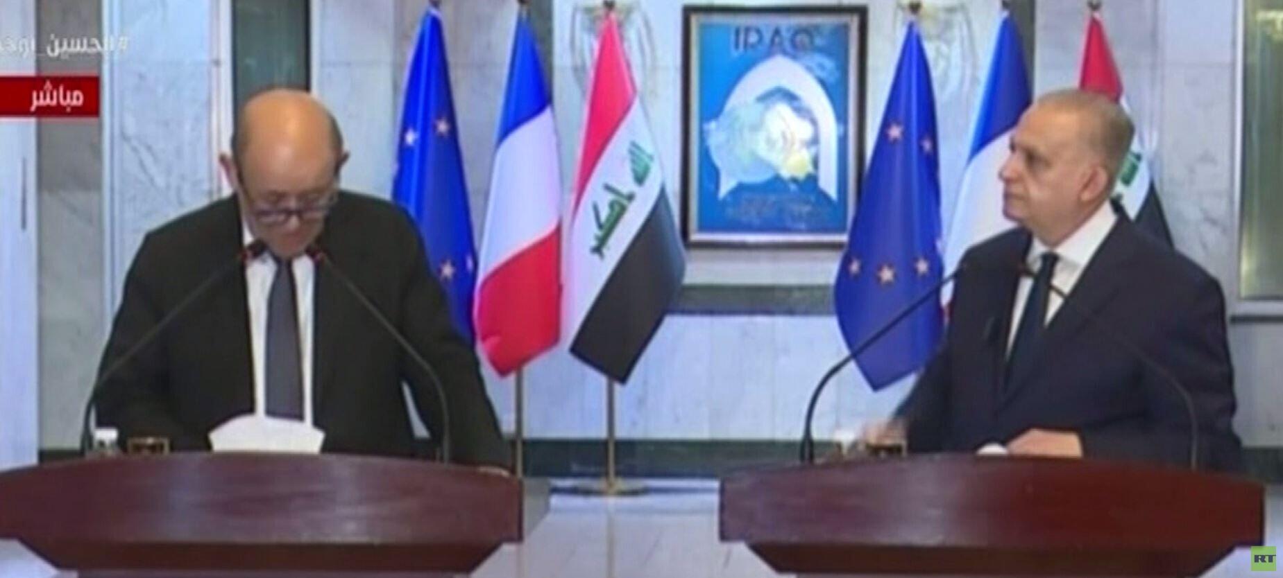 لودريان من بغداد: التحالف الدولي عازم على عدم ظهور
