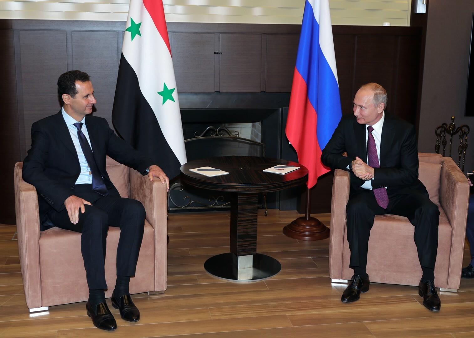 الرئيس الروسي، فلاديمير بوتين، ونظيره السوري، بشار الأسد (سوتشي، 17 مايو 2018)