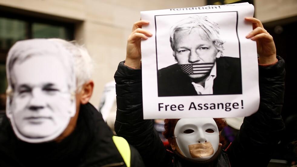 متظاهرون يطالبون بالإفراج عن جوليان أسانج في لندن - أرشيف