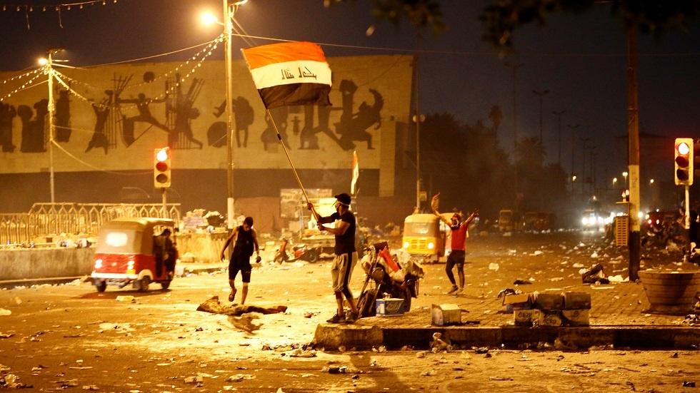 الاحتجاجات في ساحة التحرير ببغداد