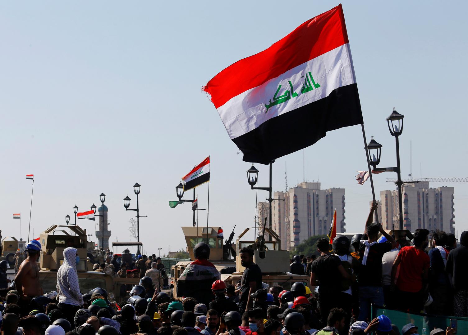 محتجون عراقيون في بغداد
