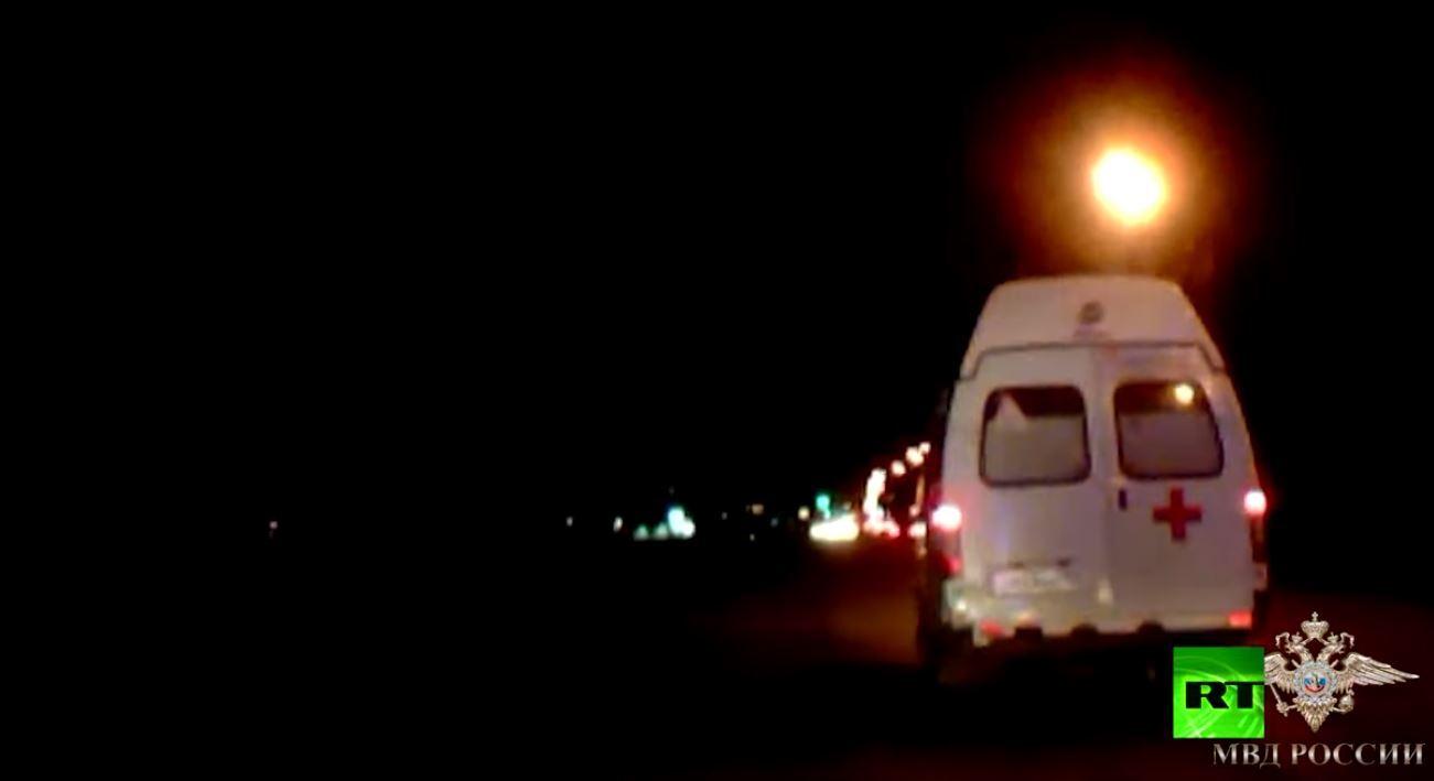الشرطة الروسية تطارد سيارة إسعاف